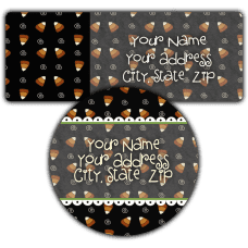 Black Candy Corn Background Return Address Labels