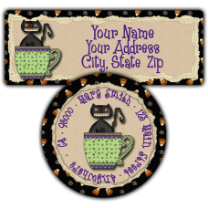 Black Cat Mug Return Address Labels