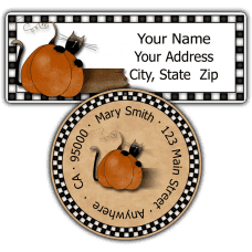Black Cat with Pumpkin Return Address Labels