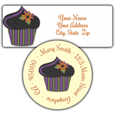 Black Halloween Cupcake Return Address Labels