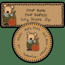 Boy Bear with Fall Harvest Return Address Labels