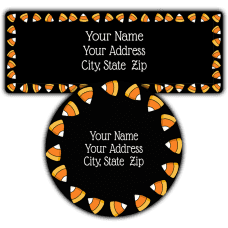 Candy Corn Black Return Address Labels