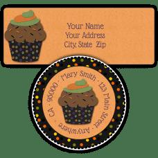 Chocolate Hallowee Cupcake Return Address Labels