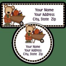 Fall Boy Bear with Wheelbarrow Return Address Labels