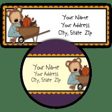 Fall Girl Bear with Wheelbarrow Return Address Labels