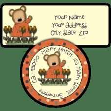 Girl Bear in Corn Field Return Address Labels