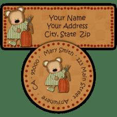 Girl Bear with Fall Harvest Return Address Labels