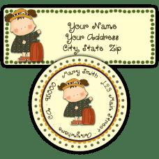 Girl With Pumpkin Return Address Labels