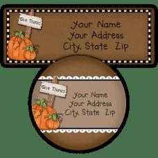 Give Thanks Pumpkins Return Address Labels
