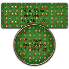 Green Candy Corn Background Return Address Labels
