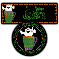 Happy Ghost in Mug Return Address Labels