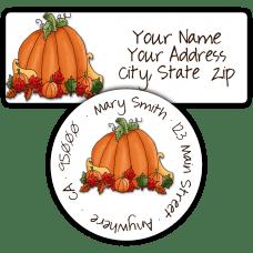 Harvest Pumpkin Return Address Labels