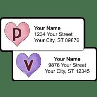 Candy Hearts Monogram Return Address Labels