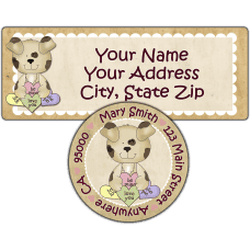 Candy Heart Puppy Return Address Label