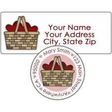 Basket of Red Hearts Return Address Label
