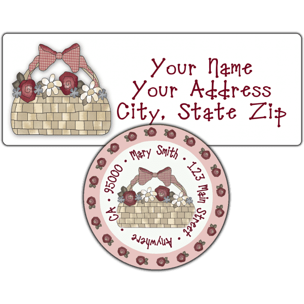 Basket of Roses Return Address Label