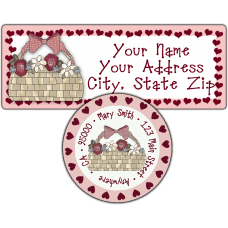 Basket of Roses Hearts Return Address Label