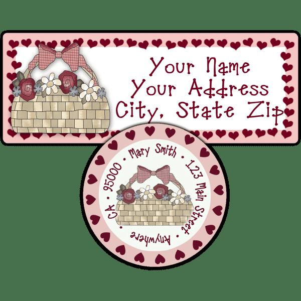Basket of Roses Hearts Return Address Label