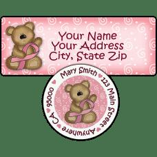 Breast Cancer Bear Return Address Label