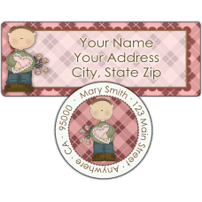 Argyle Valentine Boy Return Address Label