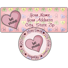 Be Mine Candy Heart Return Address Label