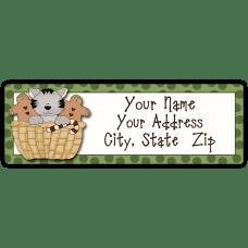 Christmas Basket Kitten Return Address Label