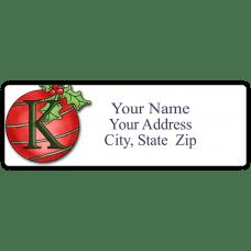 Initial Christmas Ornament Return Address Label