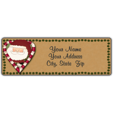 Candy Cane Heart Santa Return Address Label