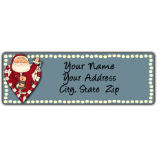Candy Cane Heart Santa Blue Return Address Label