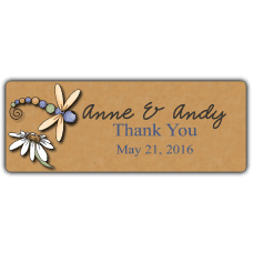 Colorful Dragonflies Wedding Favor Stickers
