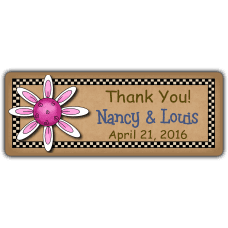 Pink Clematis Wedding Favor Stickers