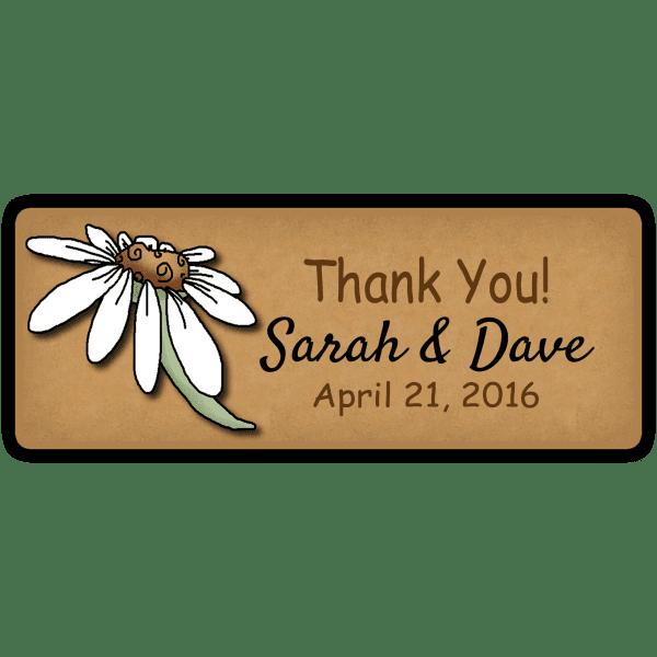 White Daisy Wedding Favor Stickers