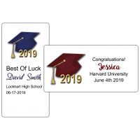 """Graduation Hats 4"""" by 2"""" Party Favor Stickers"""