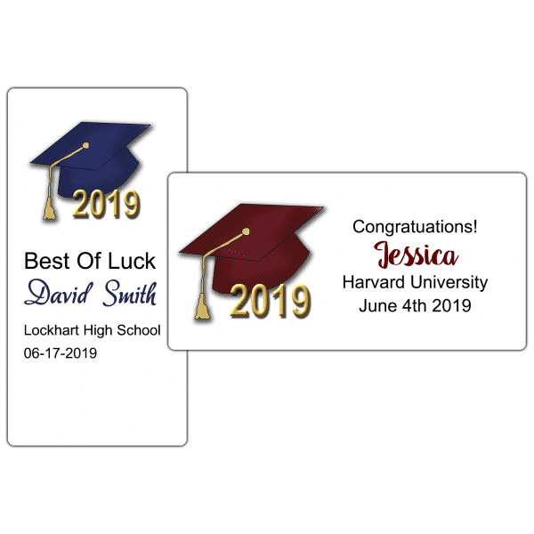 "Graduation Hats 4"" by 2"" Party Favor Stickers"