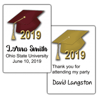 """Graduation Hats 2.5"""" by 1.75"""" Party Favor Stickers"""