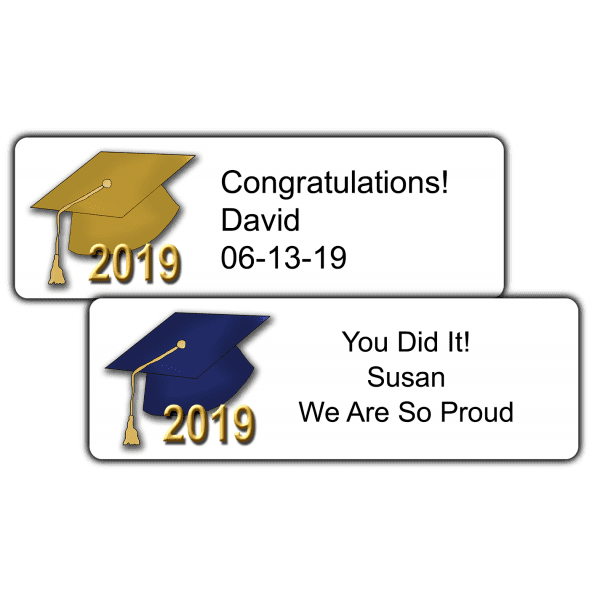 """Graduation Hats 3"""" by 1"""" Party Favor Stickers"""