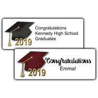 """Graduation Hats 2.63"""" by 1"""" Party Favor Stickers"""