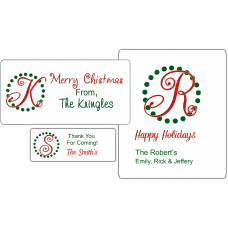 Holiday Monogram Party Favor Stickers