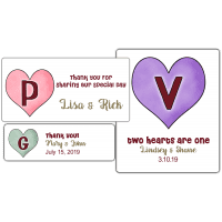 Candy Hearts Monogram Wedding Favor Stickers