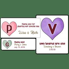 Candy Hearts Monogram Wedding Favor Stickers
