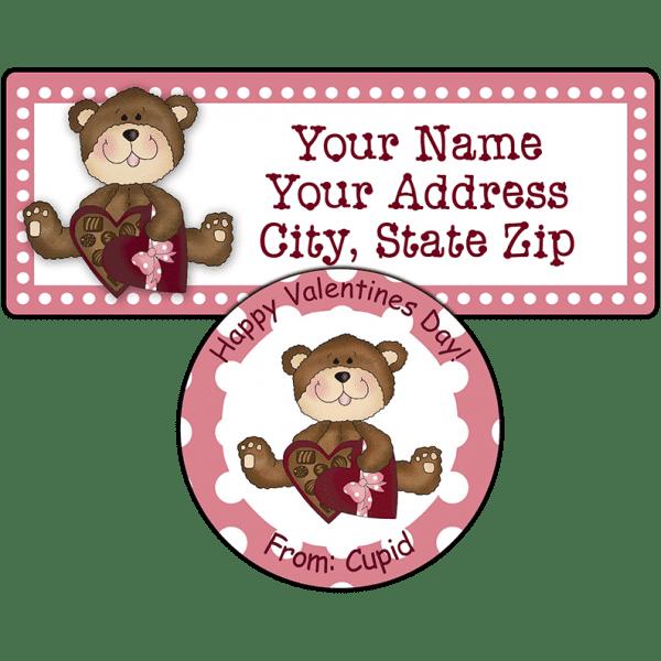 Valentine Candy Box Teddy Bear Stickers