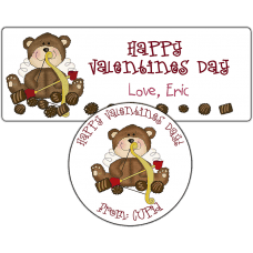 Cupid Teddy Bear Stickers