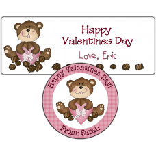 Pink Heart Box Teddy Bear Stickers