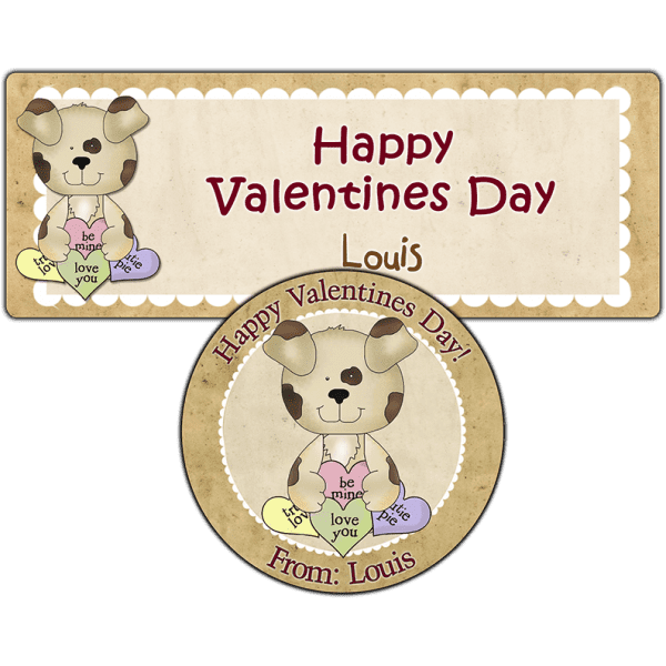 Candy Heart Puppy Stickers