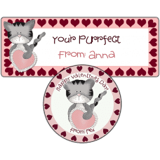Pink Valentine Heart Kitten Stickers