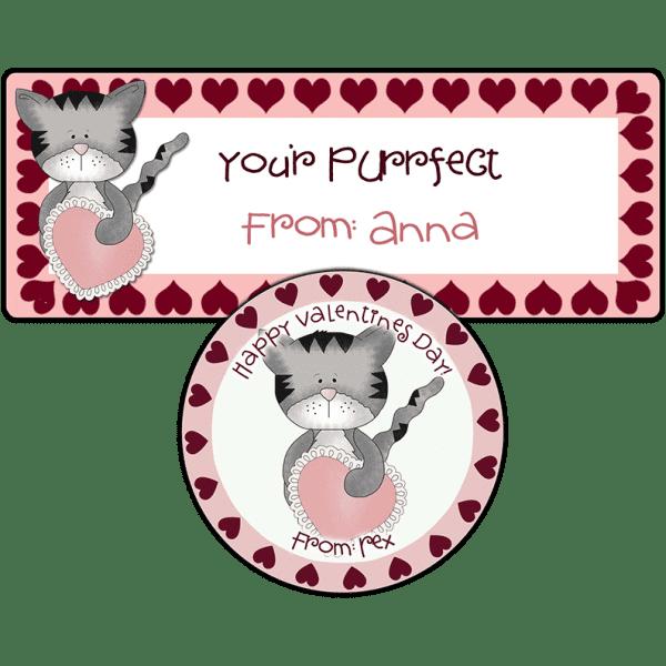 Pink Valentine Heart Kitten Stickers