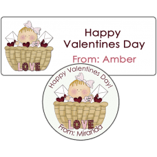 Valentine Baby Girl Basket Stickers