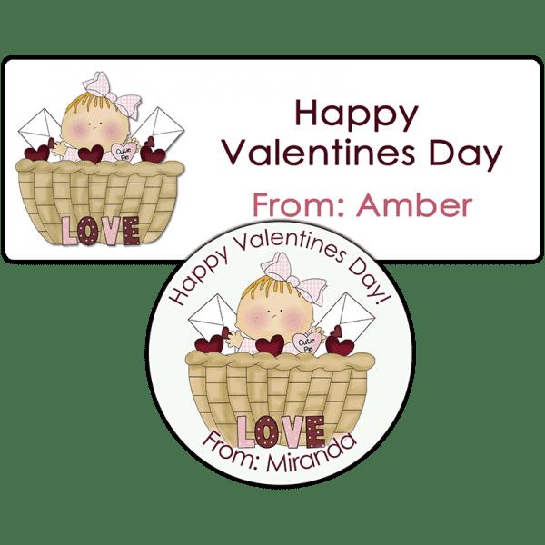Valentine Baby Girl Basket Stickers