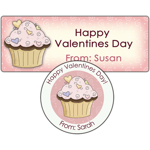 Valentine Candy Hearts Cupcake Stickers