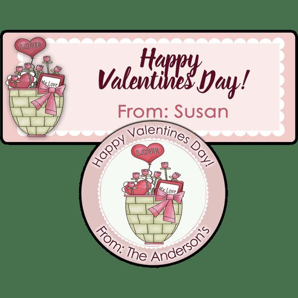 Valentine Basket Stickers